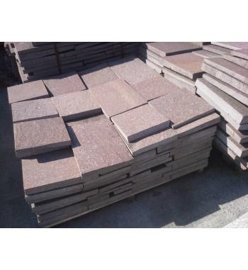 Bodenplatten Porphyr-rot mit gesägten Kanten