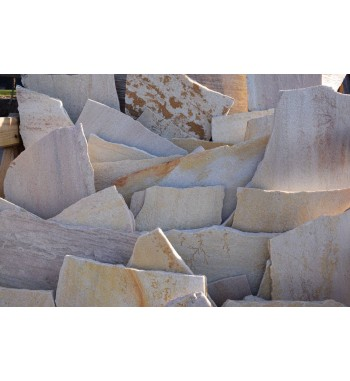 Quarzitplatten unregelmäßig hellgelb-gemischt mittelformat